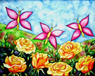 orange roses pink butterflies Winter Park Colorado local art in Fraser Kurtak gallery