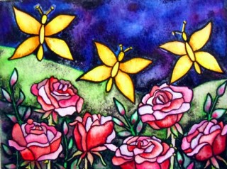 Butterflies red roses watercolor painting Elizabeth Kurtak