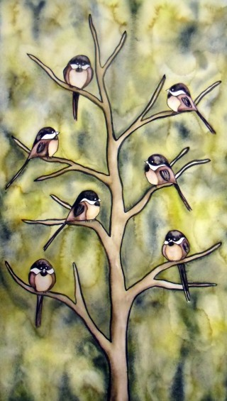 Chickadees local Colorado birds wildlife green original watercolor painting