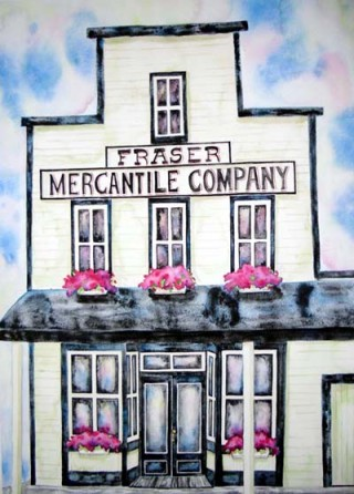 Fraser Mercantile Company Colorado Watercolor Painting Prints Fraser History Fraser Art Gallery Elizabeth Kurtak Railroad Ski Fence Pink Flowers Fraser Thrift Andrew Petersen Weddings Wedding Venue Gardens