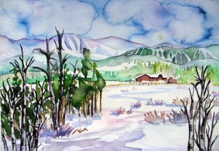 Fraser, Colorado landscape watercolor painting Winter Park Ski Area Parry Peak winter scene snow James Peak Eva River Winter Park Art Gallery
