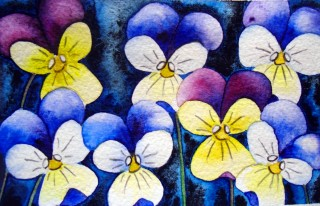 Johnny Jump Up flowers painting art Viola painting watercolor