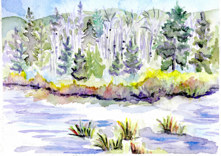 Fraser, Colorado Landscape, River, Creekside, Hiking, fishing, watercolor, art, painting, plein air