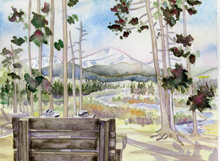 Byer's Peak Bench St Louis Creek Experimental Forest Flume trail Fraser Colorado Watercolor painting