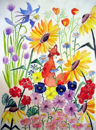 Colorado wildlife red fox floral painting with Columbine Pansies Geranium Black Eyed Susan Rudbeckia Denver Daisy Purple Asters Chives Flocks California Poppies