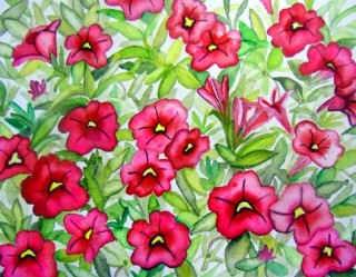 red, Calibrachoa , flower, watercolor painting