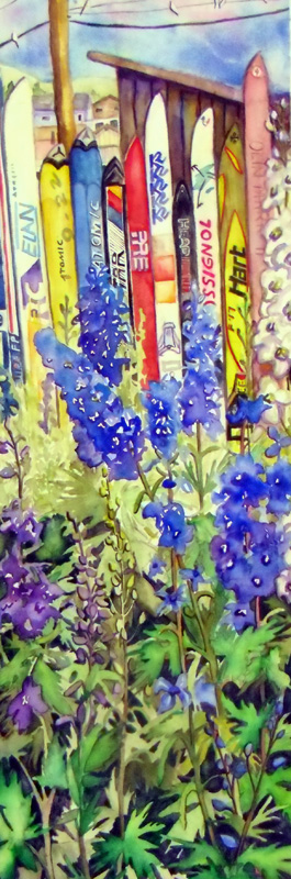 Fraser Ski Fence, Fraser Mercantile Company, Fraser Colorado, Delphinium, Flowers, Blue flowers and skis, Doves, Outhouse, Fraser Art, Watercolor, Prints, Winter Park Ski Area, Winter Park Art