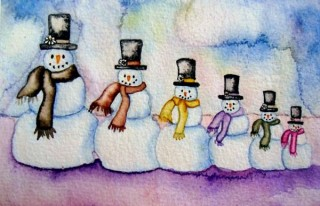 snowman snowmen watercolor painting winter positive love affordable original art