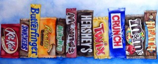 Candy art Kit Kat Snickers Butterfinger Reeses Peanut Butter Cup Hershey Bar Twix Crunch Bar M&Ms Heath Bar