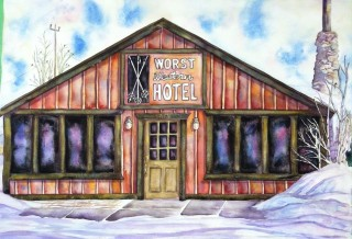 Worst Western watercolor painting Fraser Colorado winter scene local artist Elizabeth Kurtak