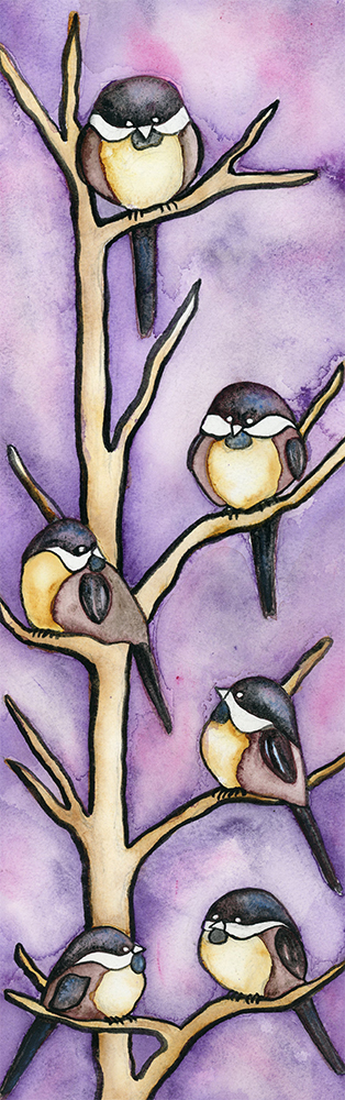 Chickadees, Purple, birds,