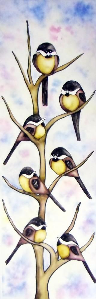 Chickadee giant watercolor paintings bird art Colorado wildlife Fraser, Colorado local art Winter Park, Colorado fine art