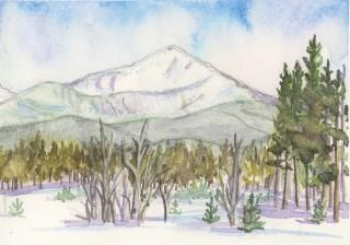 Byers Peak Fraser Colorado winter landscape watercolor painting fine art