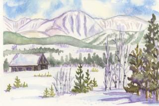 Parry Peak Continental Divide watercolor winter painting Winter Park Colorado