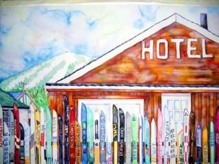 Worst Western Crooked Creed Saloon Vintage Skis ski fence Watercolor painting local art elizabeth Kurtak powder love winter park colorado art galleries red ski slopes fun in fraser weddings