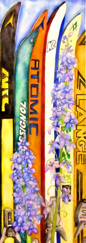 Ski Art ski painting skiing Vintage Ski Painting, Watercolor, Winter Park Art, Atomic, Arc, Rossignol, K@, Lange, Delphiniem, Colorado, Fraser Ski Fence, Fraser, Ski, Skiing,