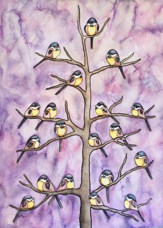 Chickadee, birds, art, watercolor