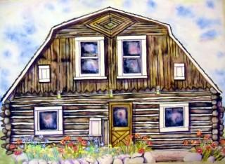 Doc Susie House painting by kurtak fraser art gallery elizabeth kurtak studio poppies columbines historic site lovely clouds winter park art gallery