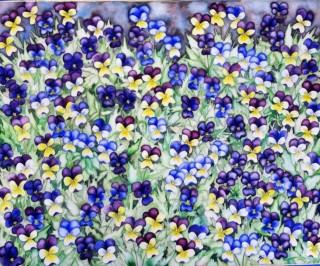 Johnny Jump Up Painting Violas resilience purple paintings Elizabeth Kurtak goes hard Fraser, Colorado Flowers Floral painting