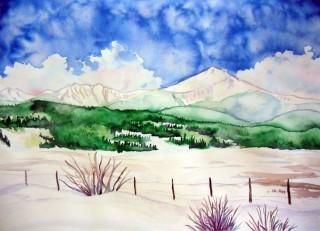 Byers Peak Fraser, Colorado original watercolor painting winter scene landscape love peace snow Fraser, Colorado Art Gallery local art Winter Park, Colorado Art