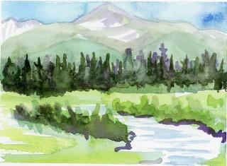 Byers Peak, Plein Air, watercolor, Fraser, art
