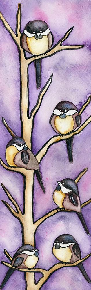 Chickadees, Purple, birds,